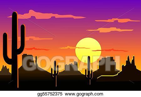 Stock illustration landscape . Desert clipart desert arizona