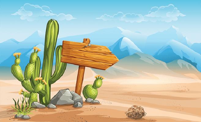Desert clipart desert environment. Wooden sign in the