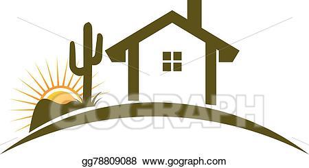 Vector art home logo. Desert clipart desert house