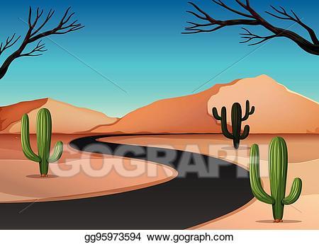 Desert clipart desert land. Vector stock with road