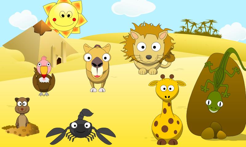 Desert clipart desert life. Cute animal scene the