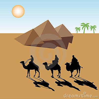 Camels through the panda. Desert clipart desert life