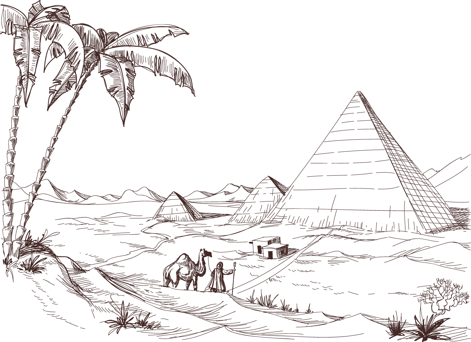 collection of drawing. Desert clipart desert pyramid