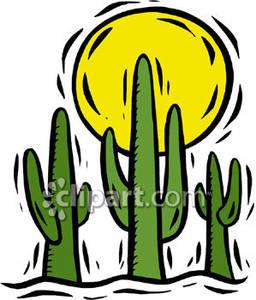 Desert clipart desert sun. With cacti royalty free