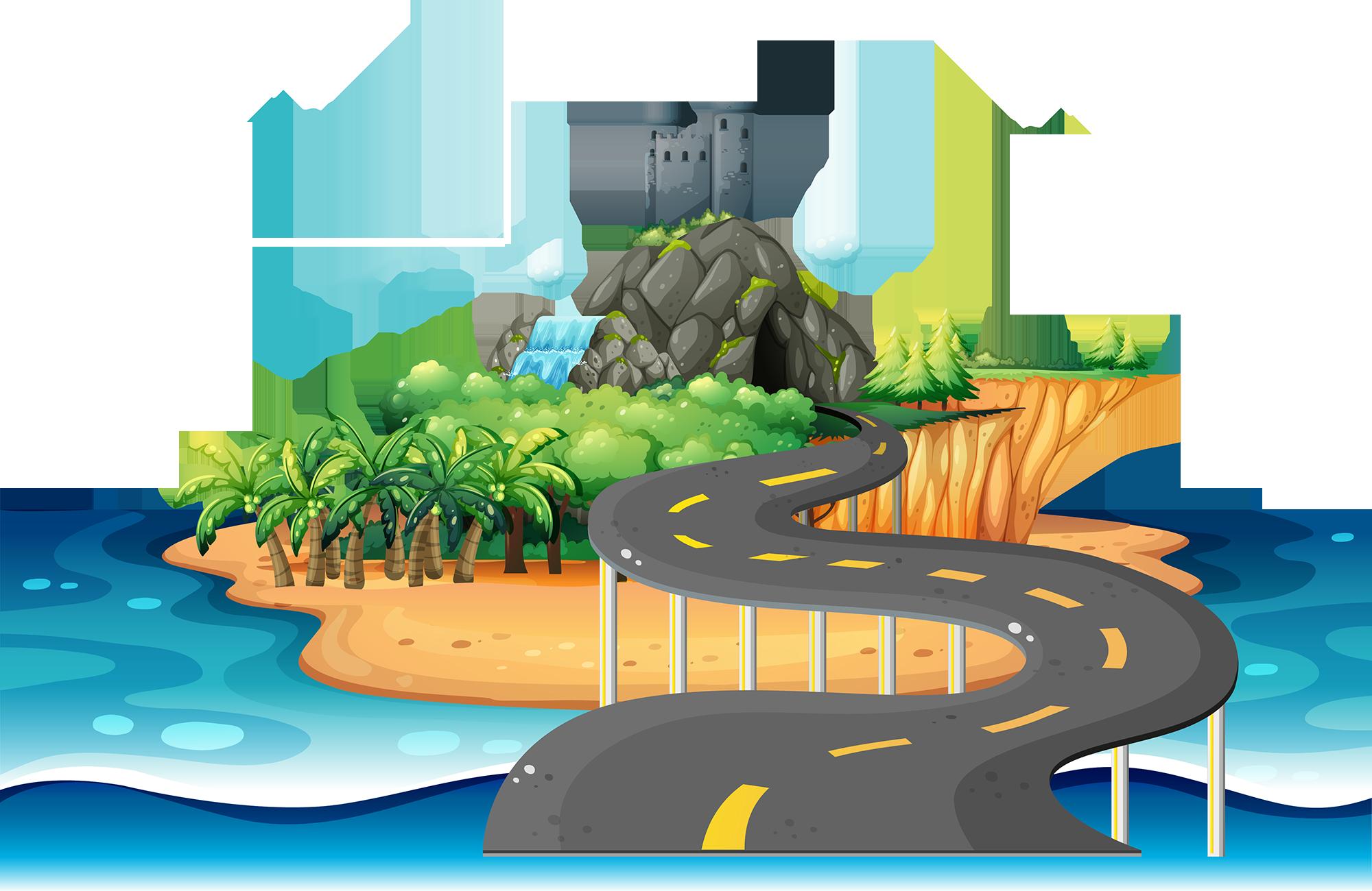 Drawing desert island clip. Landscape clipart beach water