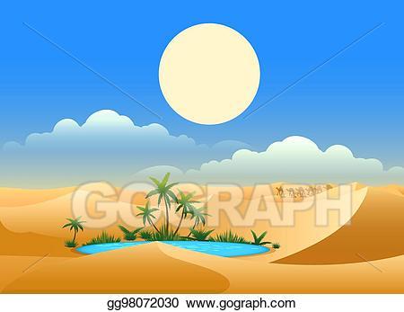 Desert clipart hot desert. Vector oasis background