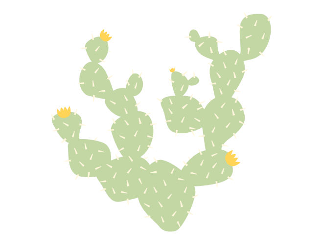 Cactus wall decal weedecor. Desert clipart prickly pear