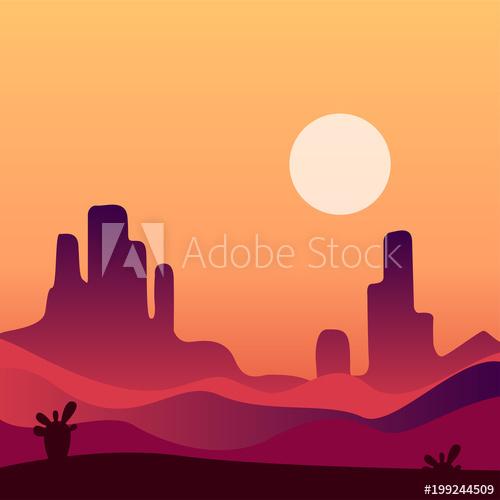 Desert clipart rocky desert. Evening landscape background natural