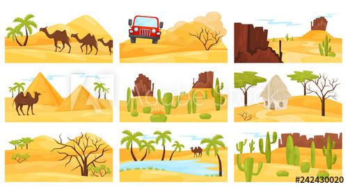 Flat vector set of. Desert clipart rocky desert