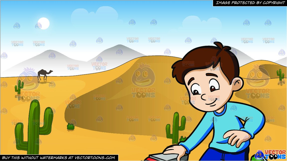A young boy playing. Desert clipart sand hill