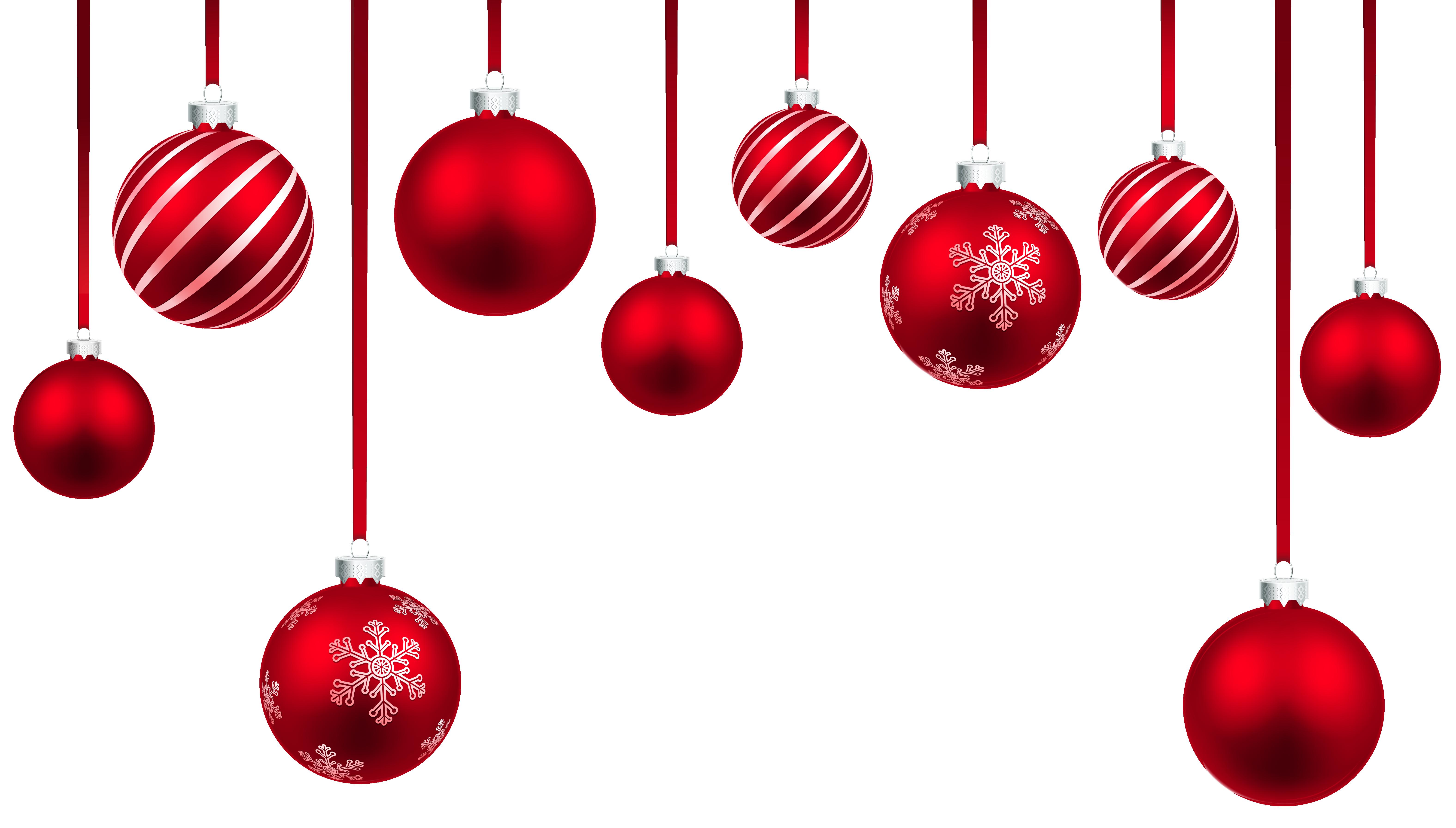 Red christmas hanging balls. Desert clipart sponge cake