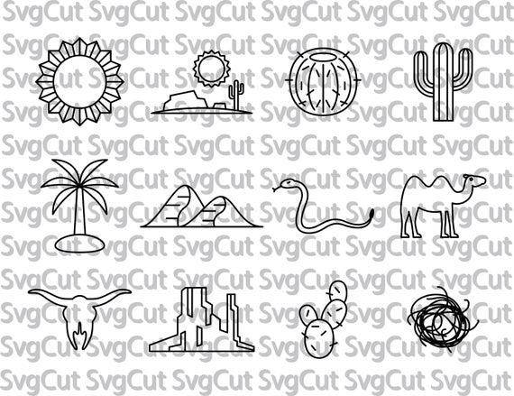 Desert clipart svg. Bundle animals cactus files