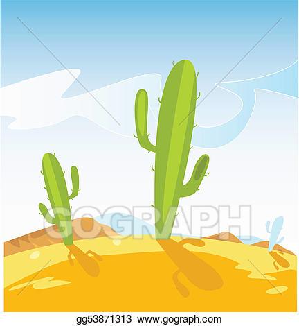 Desert clipart western desert. Vector art with cactus