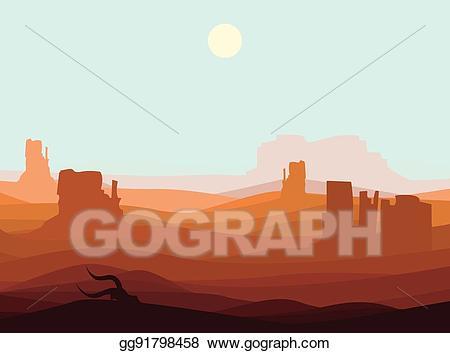 Vector landscape background . Desert clipart western desert