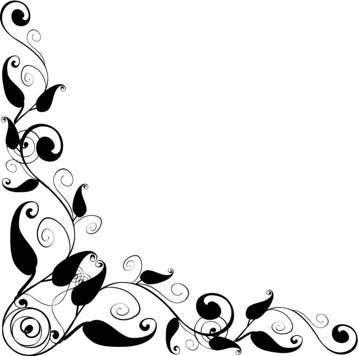 Floral corner frame vector. Design clipart
