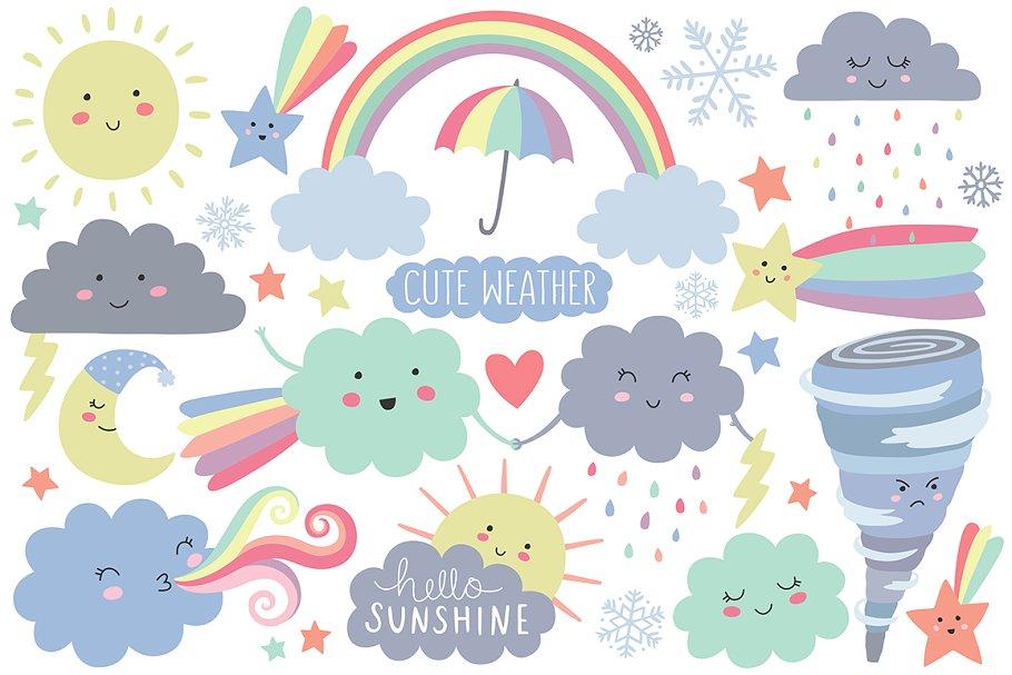 Weather elements . Design clipart cute