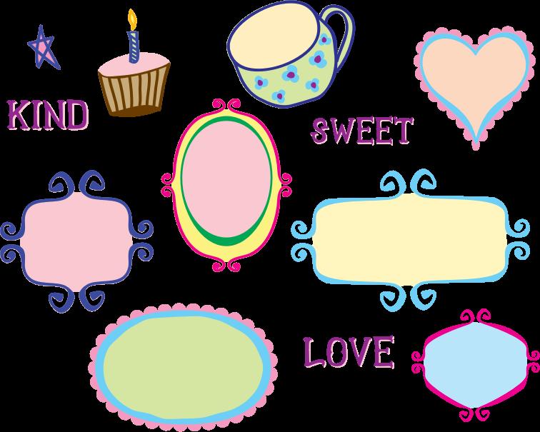 Design clipart doodle. Kitschy frame borders medium