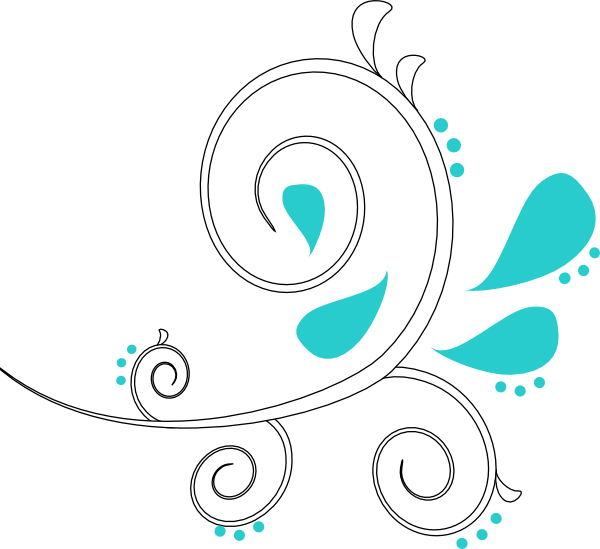 White teal swirl clip. Paisley clipart outline