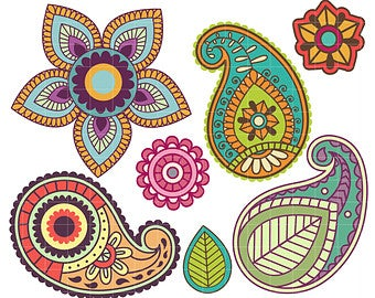 Paisley clipart colorful paisley. Etsy