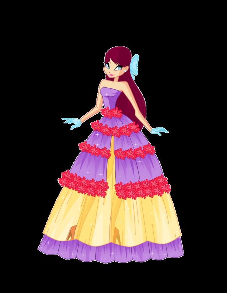 Merula ball gown request. Princess clipart flower