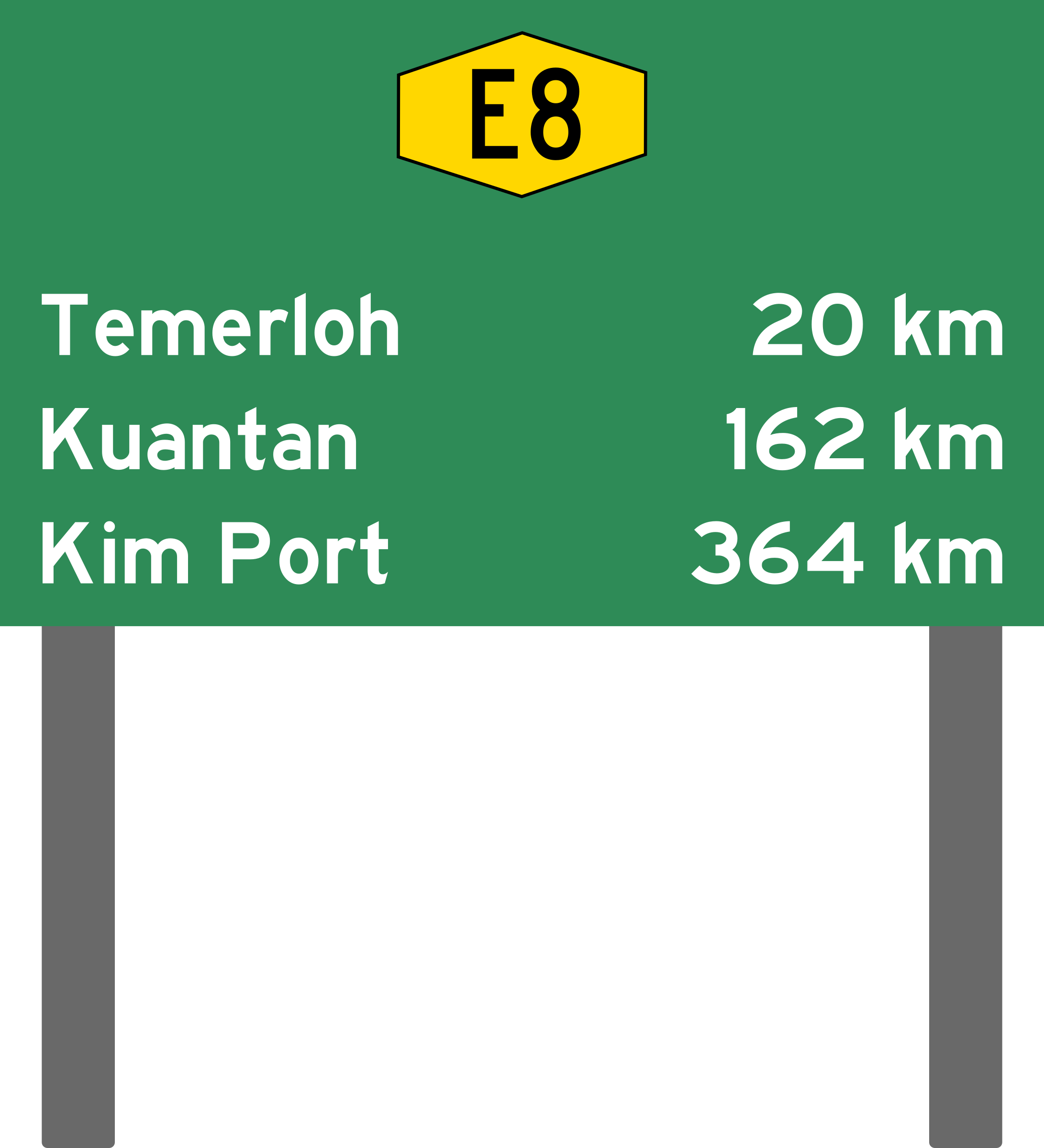 Malaysia expressway distance sign. Design clipart signboard