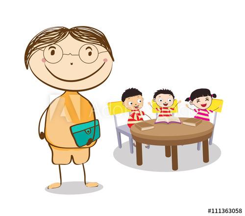 Mid age teacher man. Desk clipart big school