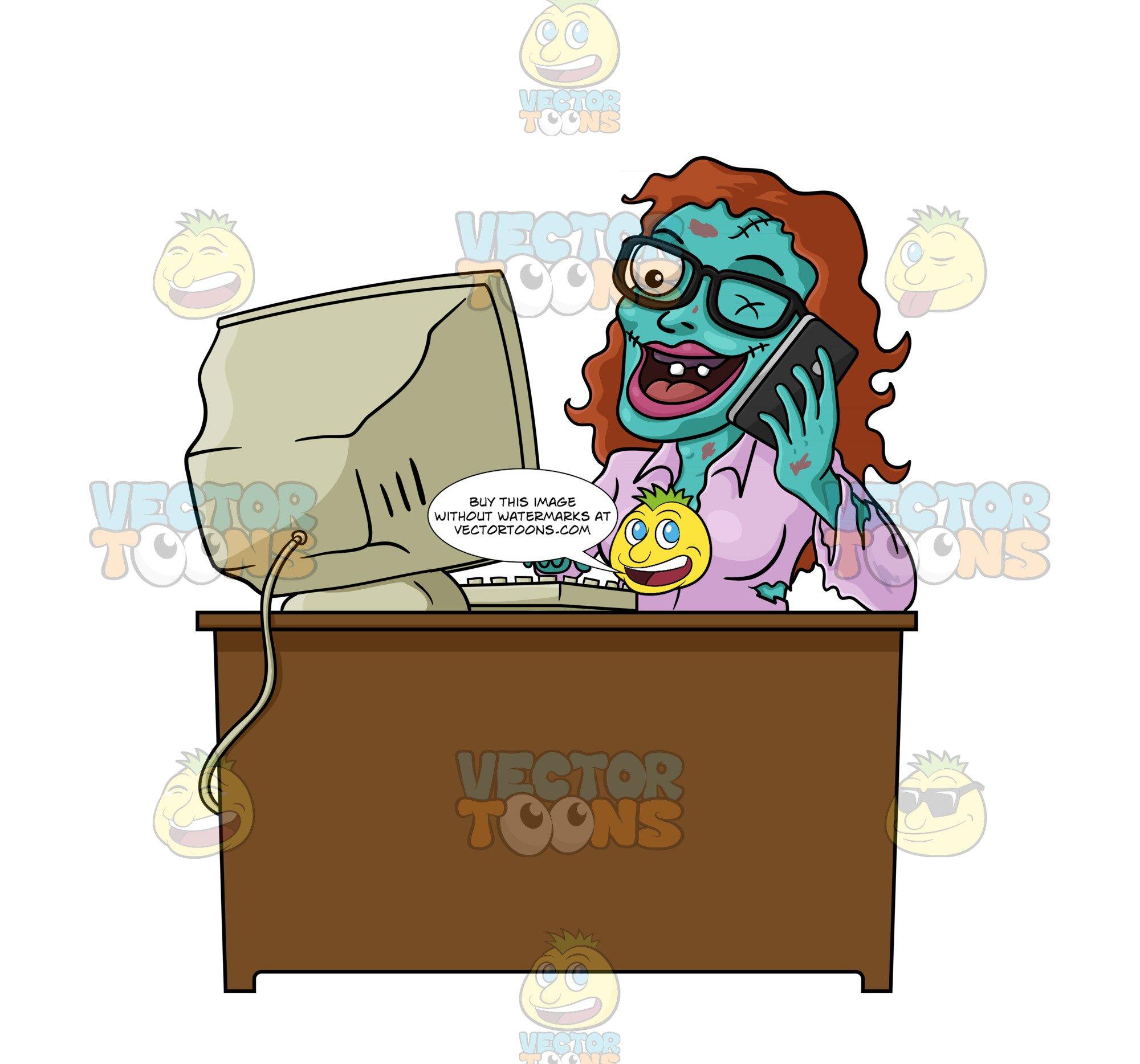 Green zombie office worker. Desk clipart brown desk