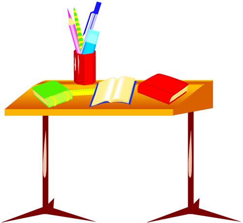 Free download clip art. Desk clipart cartoon school