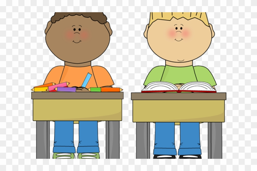 Desk clipart cute desk. Student cartoon sitting in