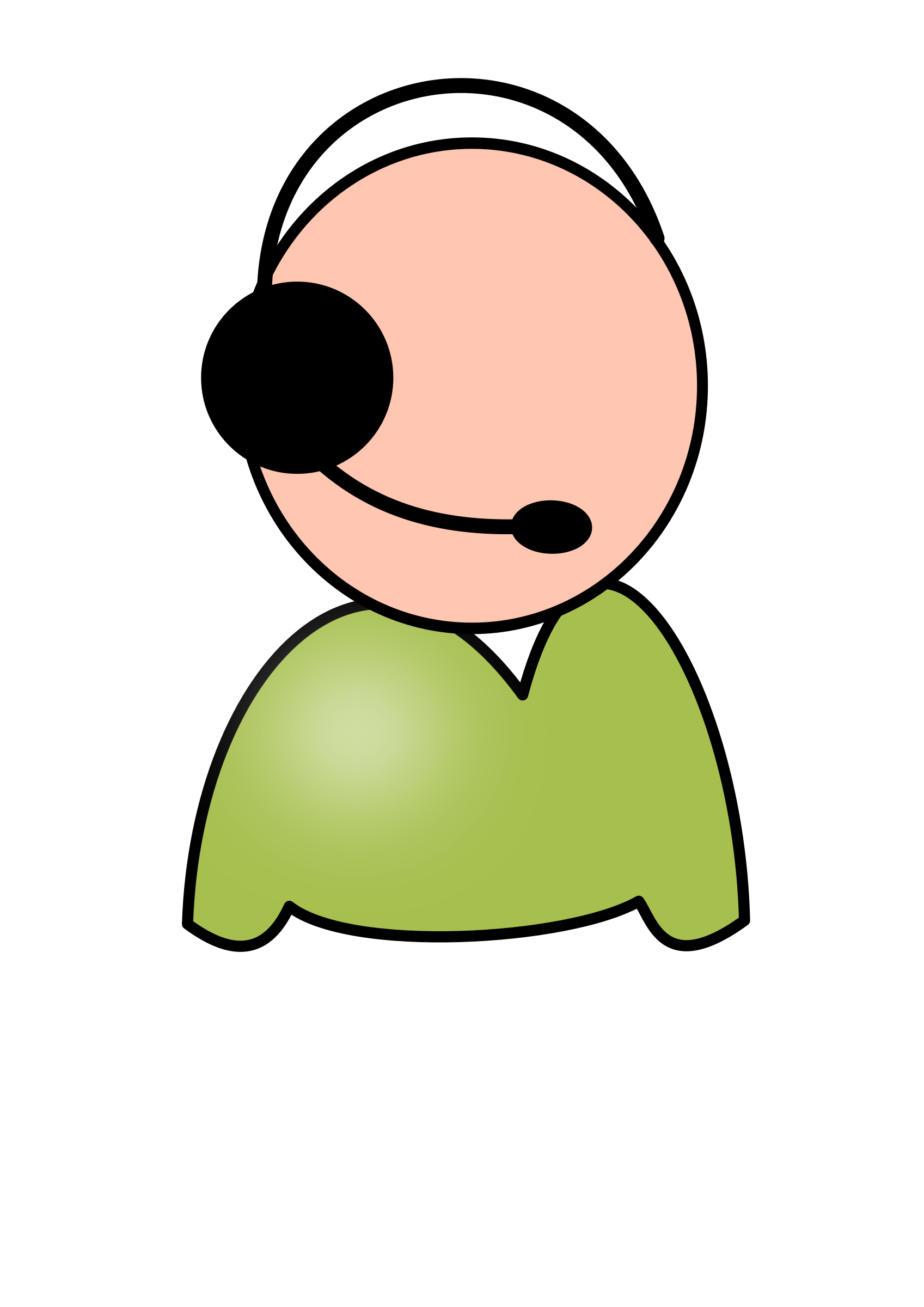 Servicedesk employee big image. Desk clipart head