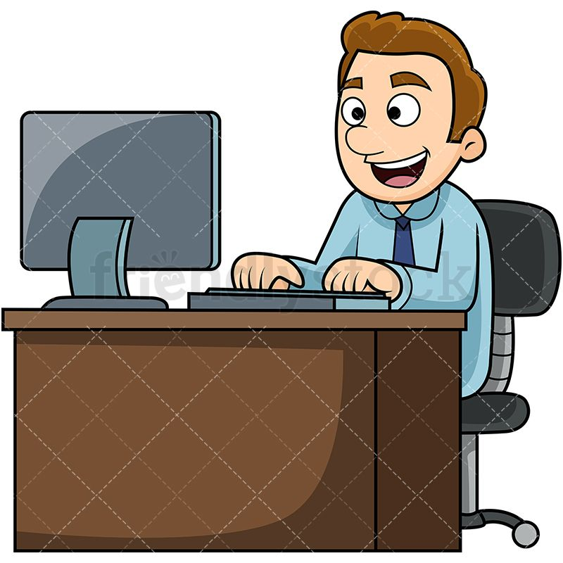 Happy man with computer. Working clipart vector
