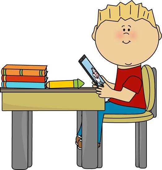 Boy sitting at classroom. Desk clipart preschool