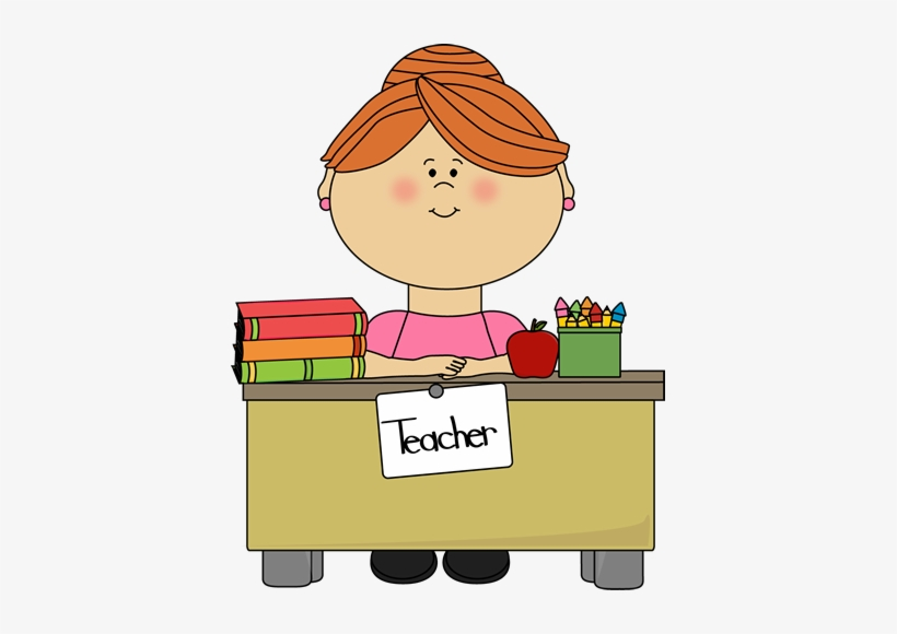 Cartoon teachers clip art. Desk clipart school teacher