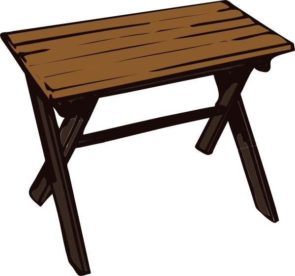 Collapsible wooden table clip. Desk clipart wood desk