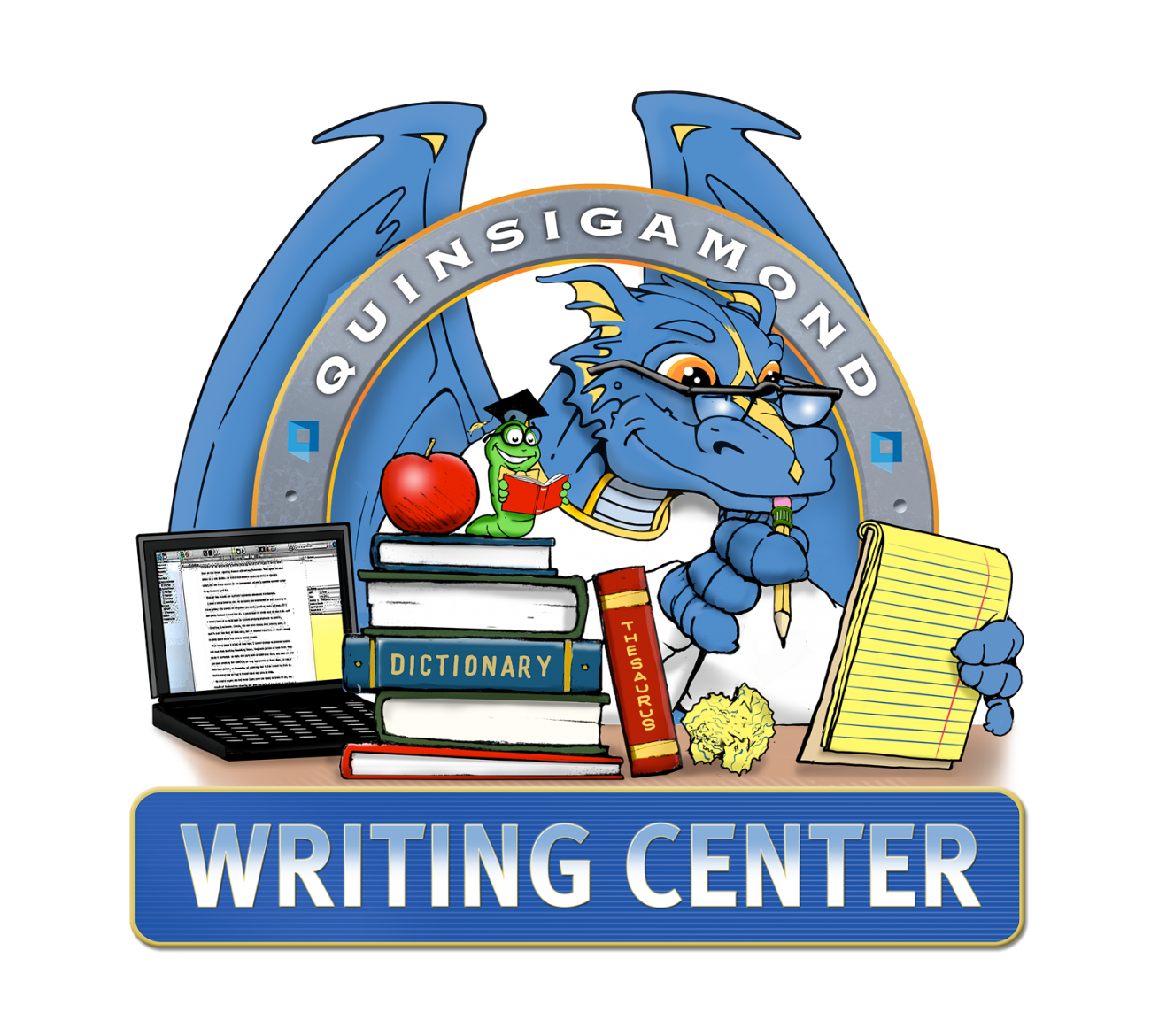Desk clipart writing center. Logos quinsigamond community college