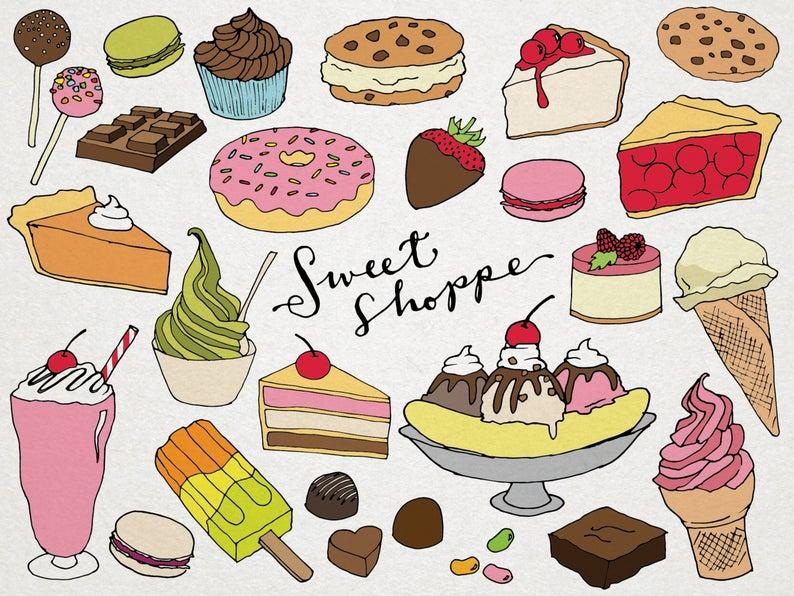 Shoppe clip art hand. Desserts clipart baked sweet