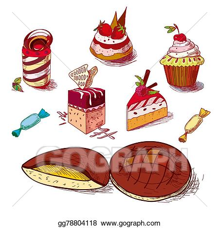 Vector illustration hand drawn. Dessert clipart bakery item