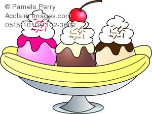 Desserts clipart banana split ice cream. Clip art image of