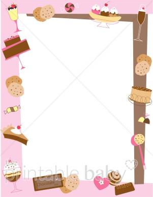 Desserts clipart borders. Retro dessert border baby