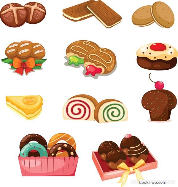 Desserts clipart cake biscuit. Biscuits and cakes set