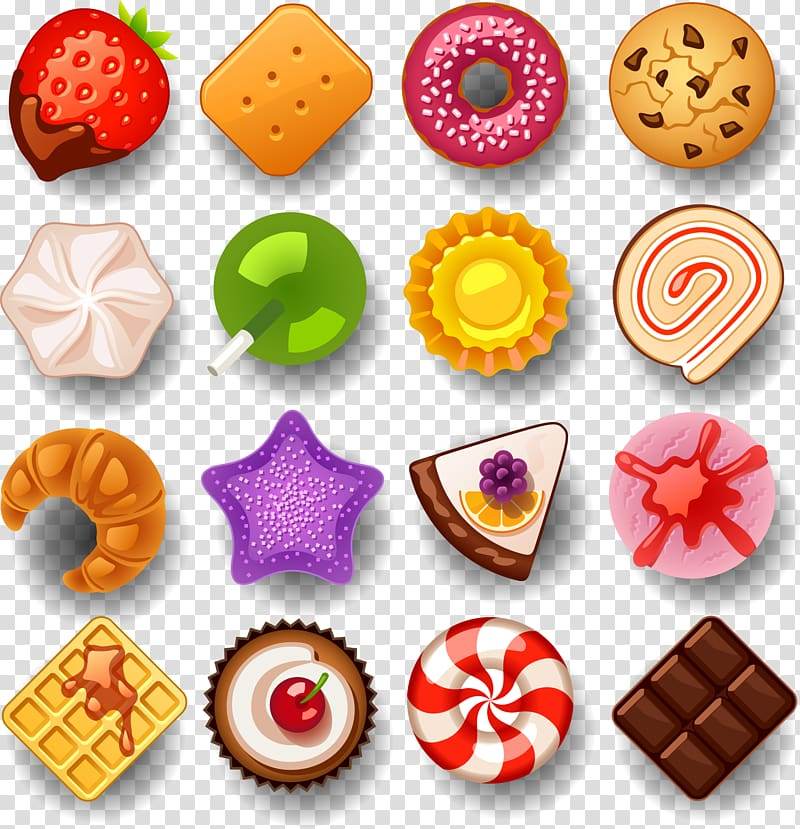 Assorted sweets icon lot. Desserts clipart colorful candy