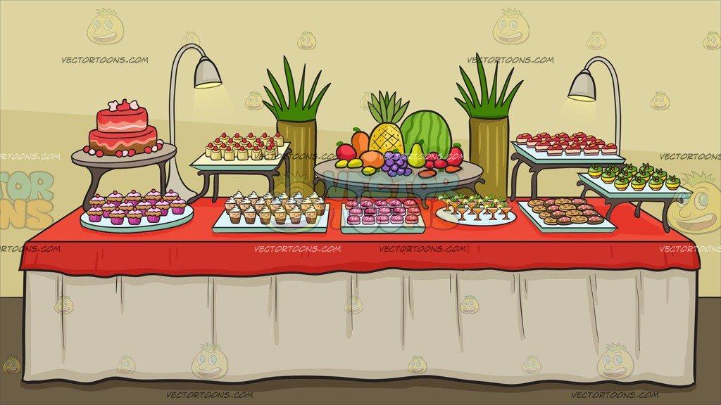 A table background . Desserts clipart dessert buffet