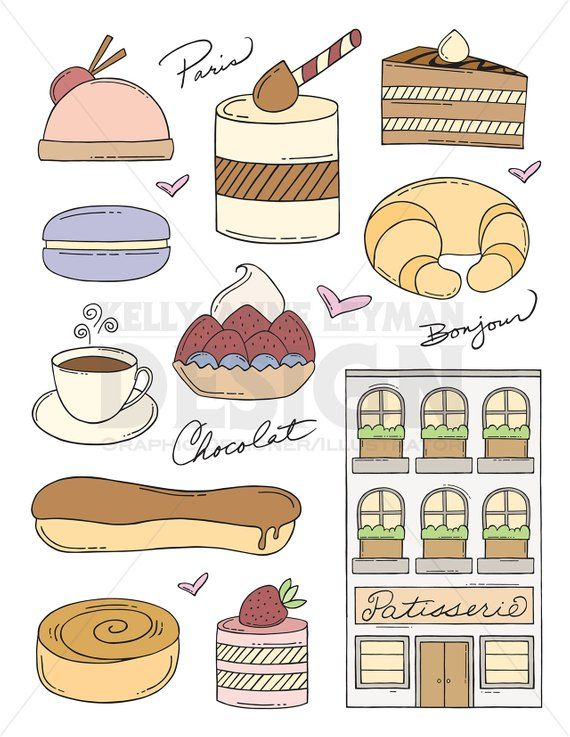 Doodle pastry clip art. Dessert clipart dessert french