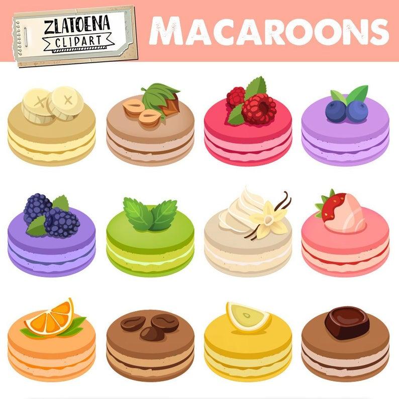 Dessert clipart dessert french. Macarons digital clip art