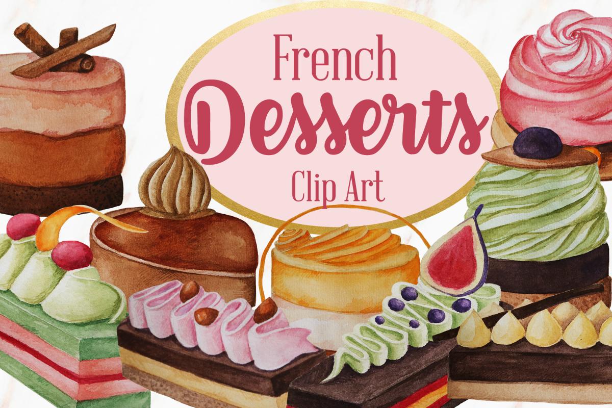 Dessert clipart dessert french. Watercolor pastries clip art