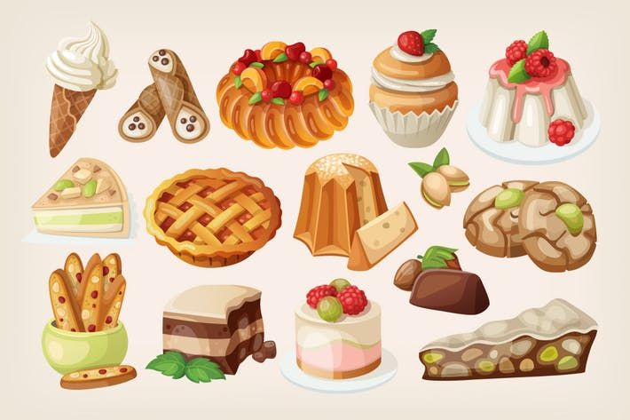 Desserts clipart dessert italian. Traditional by moonery pallet
