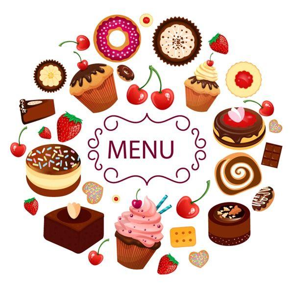Cartoon the vector material. Desserts clipart dessert menu