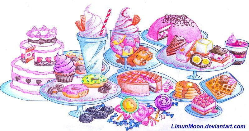 Sweet by limunmoon on. Desserts clipart dessert table