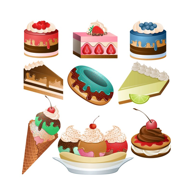 Desserts clipart different. Set of png jpg