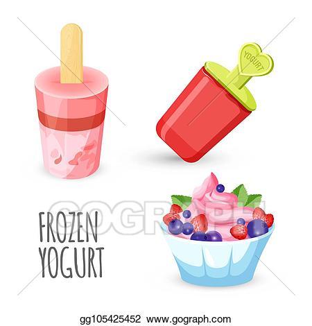 Yogurt clipart healthy dessert. Vector illustration eating delicious